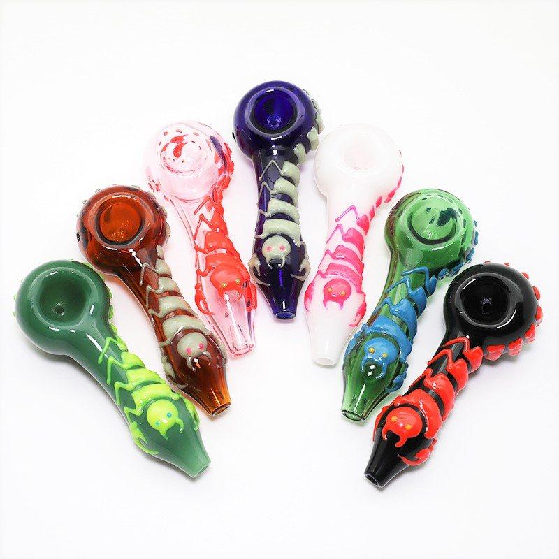 406 – 4″ Glow In The Dark Scorpion Design Glass Hand Pipe