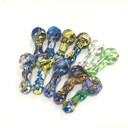 SP06 – 4″ Printed Silicone Hand Pipe W/Dab Stick/Container