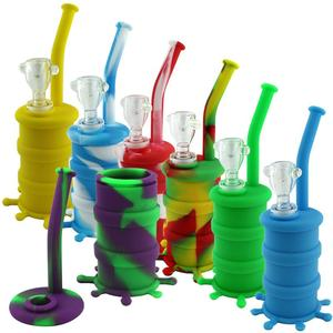 WP87 – 8″ Silicone Barrel Water Pipe W/Glass Bowl